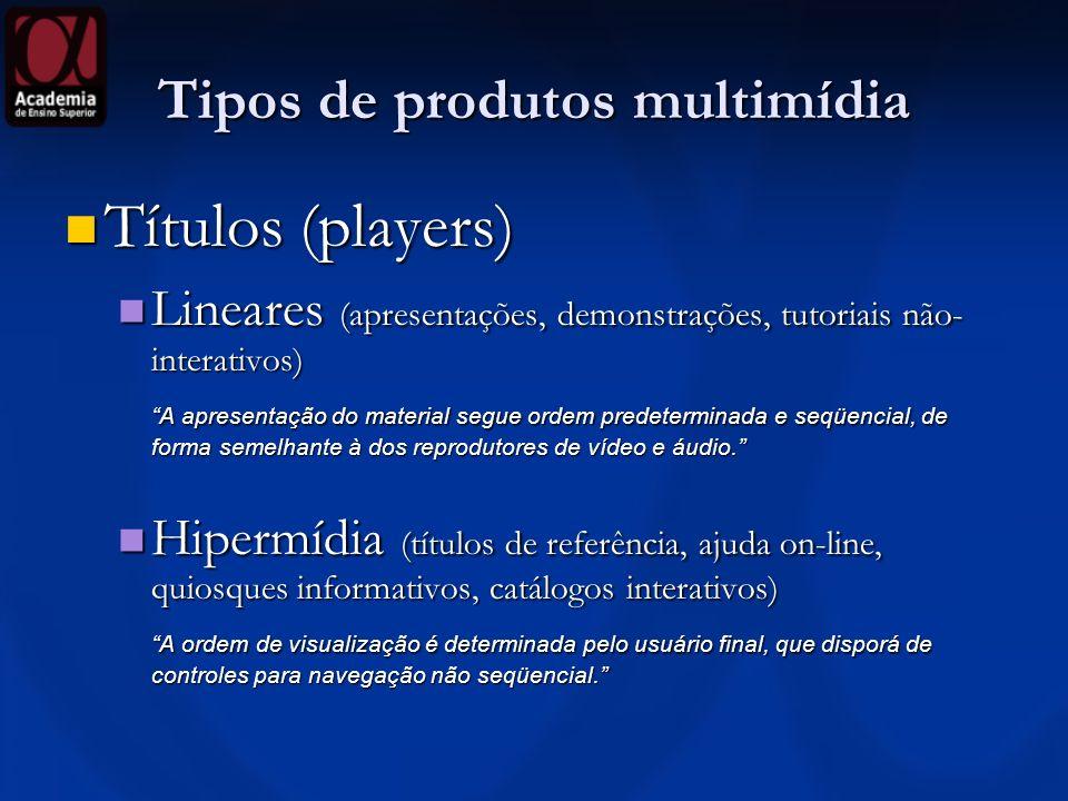Tipos de produtos multimídia Títulos (players) Títulos (players) Lineares (apresentações, demonstrações, tutoriais não- interativos) Lineares (apresen
