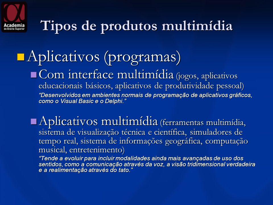 Tipos de produtos multimídia Aplicativos (programas) Aplicativos (programas) Com interface multimídia (jogos, aplicativos educacionais básicos, aplica