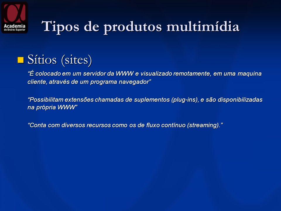 Tipos de produtos multimídia Sítios (sites) Sítios (sites) É colocado em um servidor da WWW e visualizado remotamente, em uma maquina cliente, através