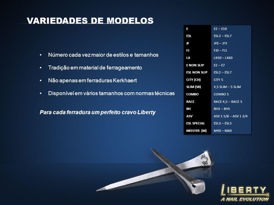 Número cada vez maior de estilos e tamanhos Tradição em material de ferrageamento Não apenas em ferraduras Kerkhaert Disponível em vários tamanhos com