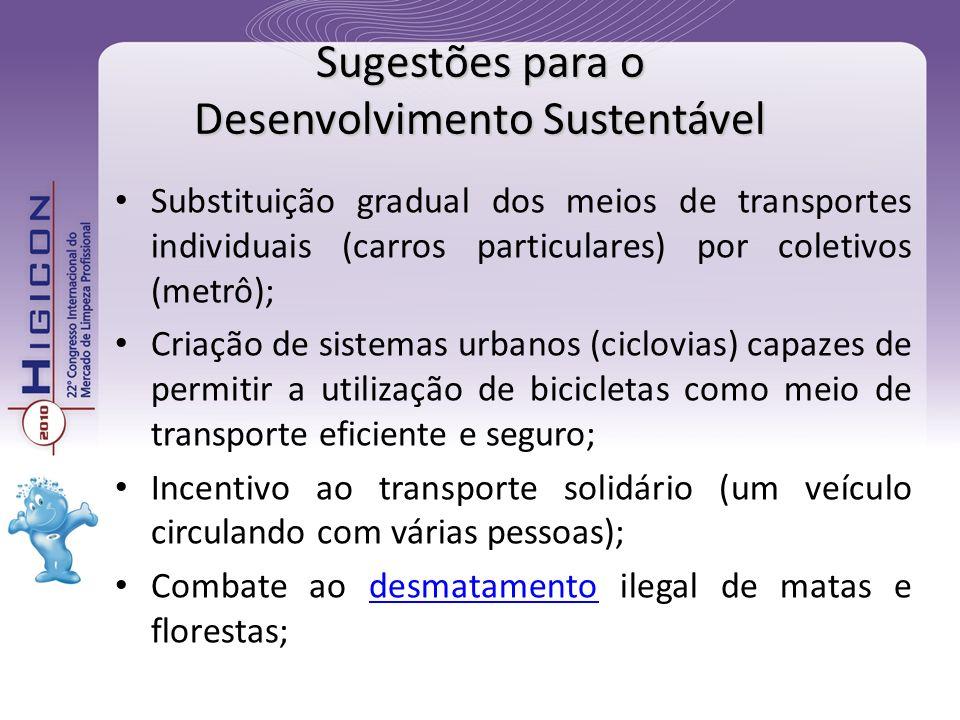 Substituição gradual dos meios de transportes individuais (carros particulares) por coletivos (metrô); Criação de sistemas urbanos (ciclovias) capazes