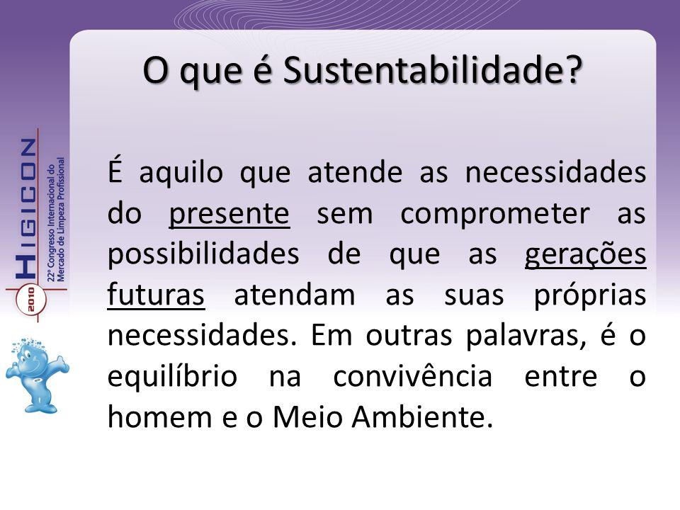 O que é Sustentabilidade? É aquilo que atende as necessidades do presente sem comprometer as possibilidades de que as gerações futuras atendam as suas
