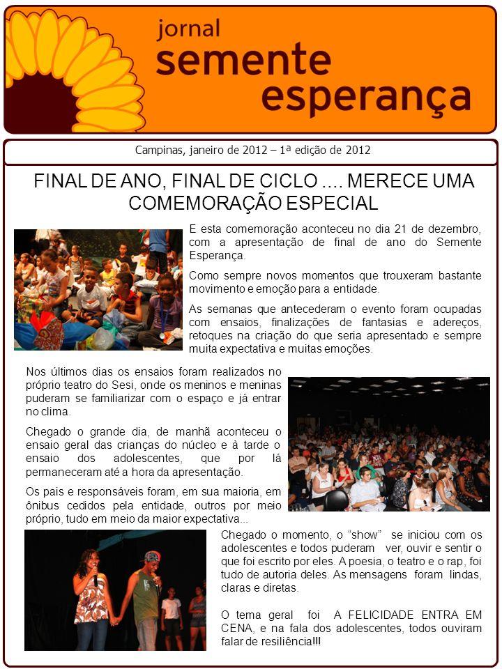 Campinas, janeiro de 2012 – 1ª edição de 2012 FINAL DE ANO, FINAL DE CICLO.... MERECE UMA COMEMORAÇÃO ESPECIAL E esta comemoração aconteceu no dia 21