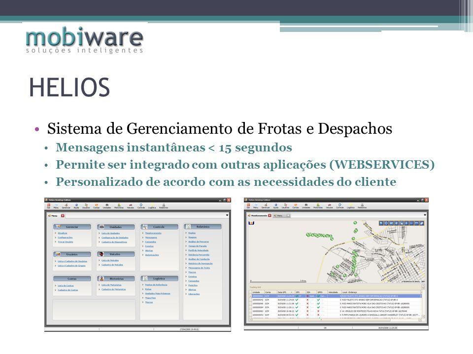 HELIOS Sistema de Gerenciamento de Frotas e Despachos Mensagens instantâneas < 15 segundos Permite ser integrado com outras aplicações (WEBSERVICES) P
