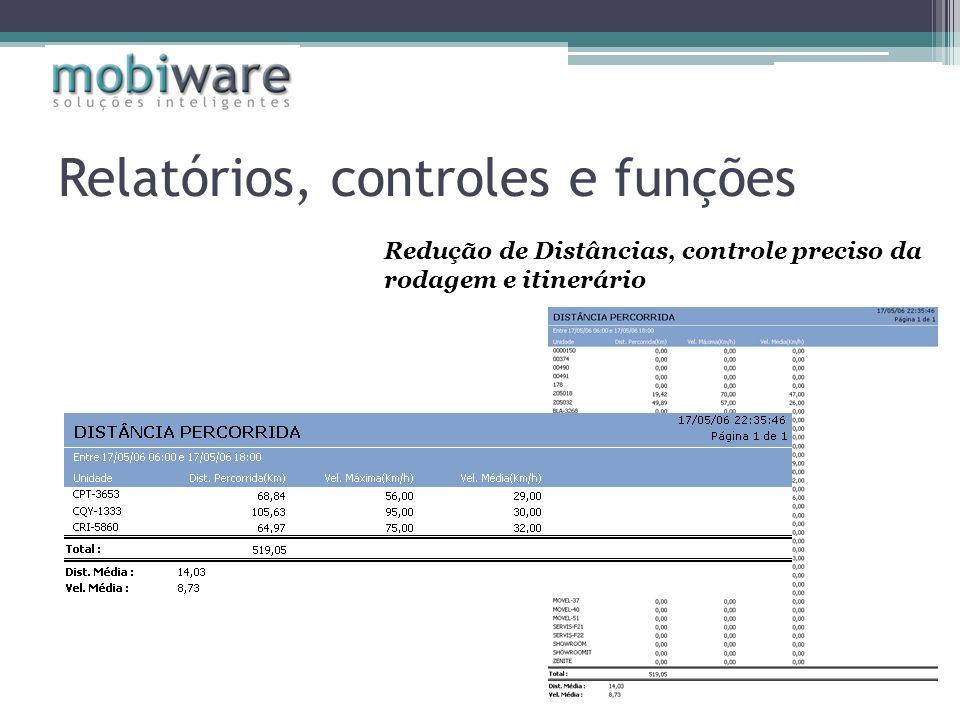 Redução de Distâncias, controle preciso da rodagem e itinerário Relatórios, controles e funções