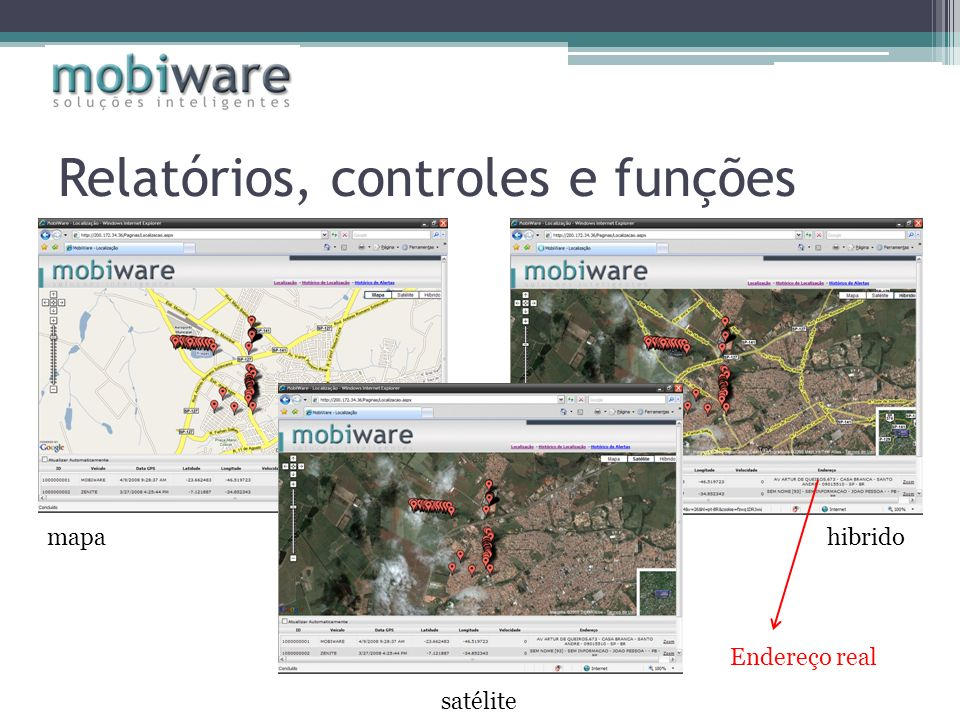 Relatórios, controles e funções mapahibrido satélite Endereço real