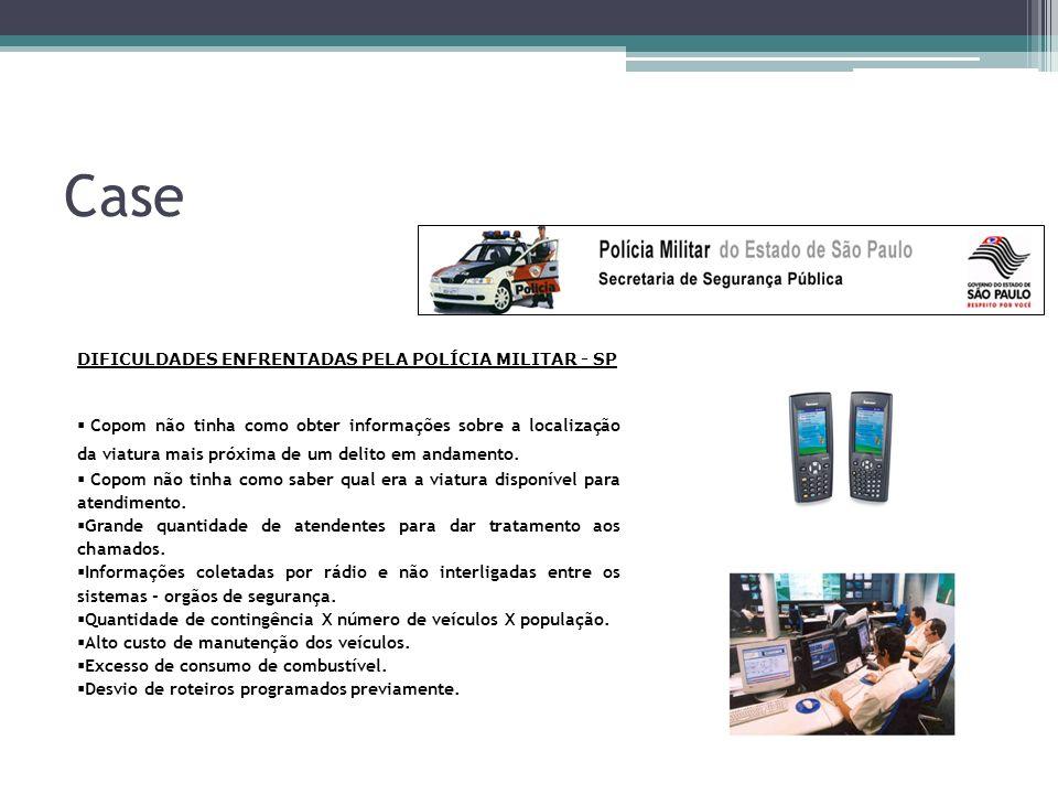 Case DIFICULDADES ENFRENTADAS PELA POLÍCIA MILITAR - SP Copom não tinha como obter informações sobre a localização da viatura mais próxima de um delito em andamento.
