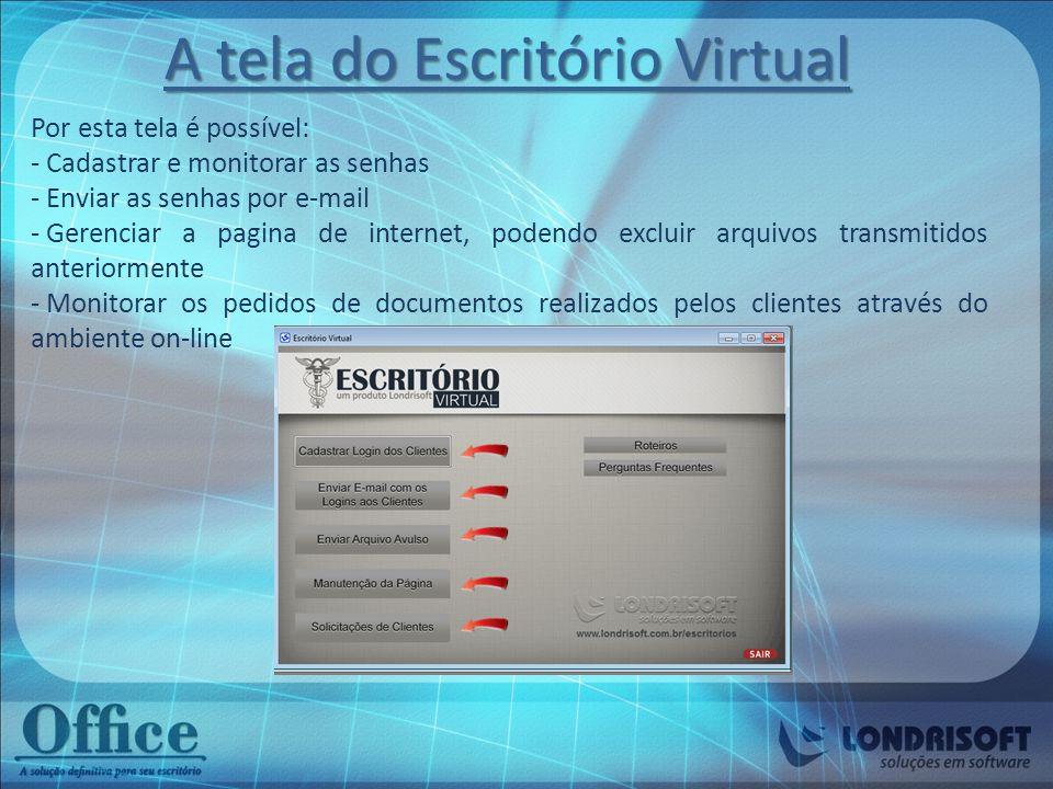 A tela do Escritório Virtual Por esta tela é possível: - Cadastrar e monitorar as senhas - Enviar as senhas por e-mail - Gerenciar a pagina de interne