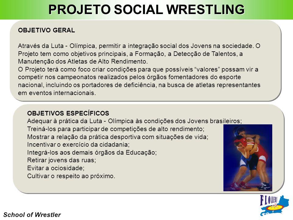 School of Wrestler OBJETIVO GERAL Através da Luta - Olímpica, permitir a integração social dos Jovens na sociedade. O Projeto tem como objetivos princ