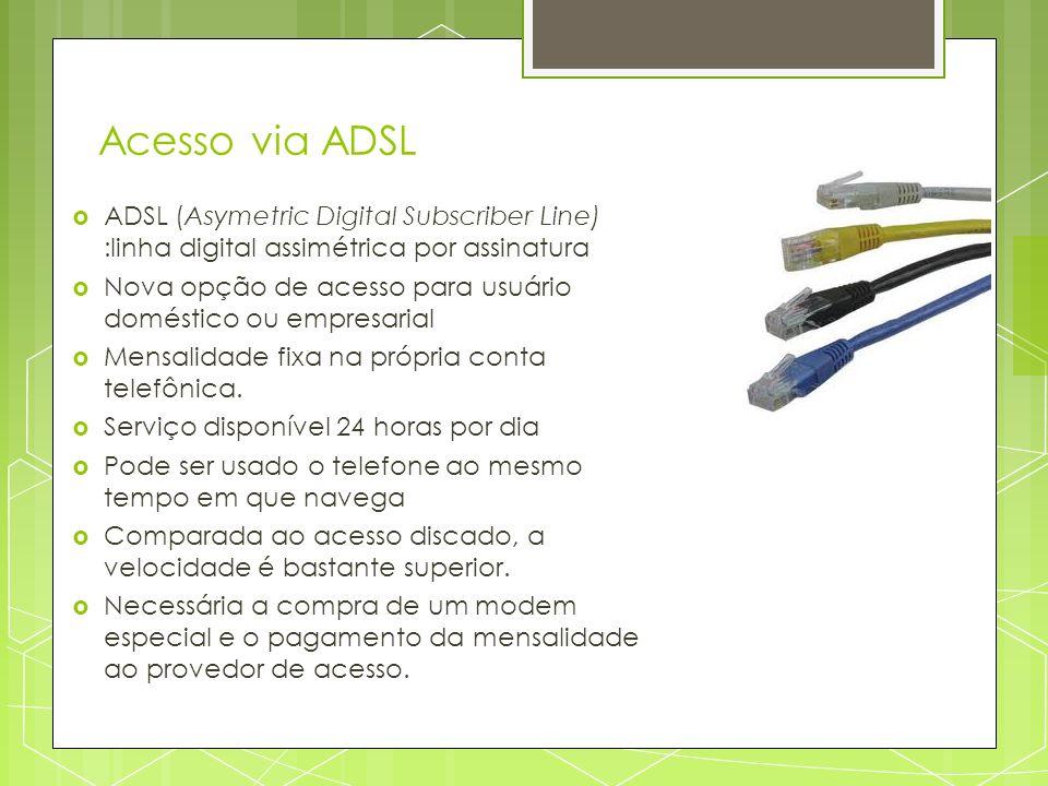 Acesso via ADSL ADSL (Asymetric Digital Subscriber Line) :linha digital assimétrica por assinatura Nova opção de acesso para usuário doméstico ou empr