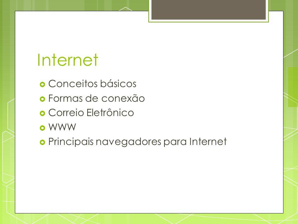 Internet Conceitos básicos Formas de conexão Correio Eletrônico WWW Principais navegadores para Internet