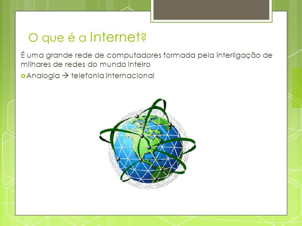 O que é a Internet ? É uma grande rede de computadores formada pela interligação de milhares de redes do mundo inteiro Analogia telefonia internaciona
