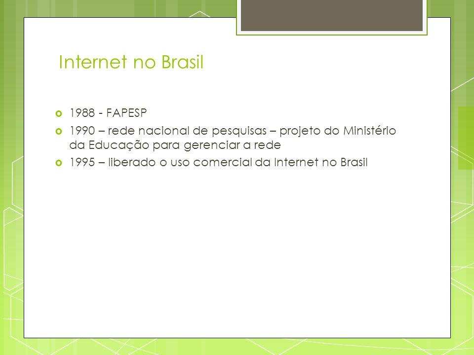 Internet no Brasil 1988 - FAPESP 1990 – rede nacional de pesquisas – projeto do Ministério da Educação para gerenciar a rede 1995 – liberado o uso com