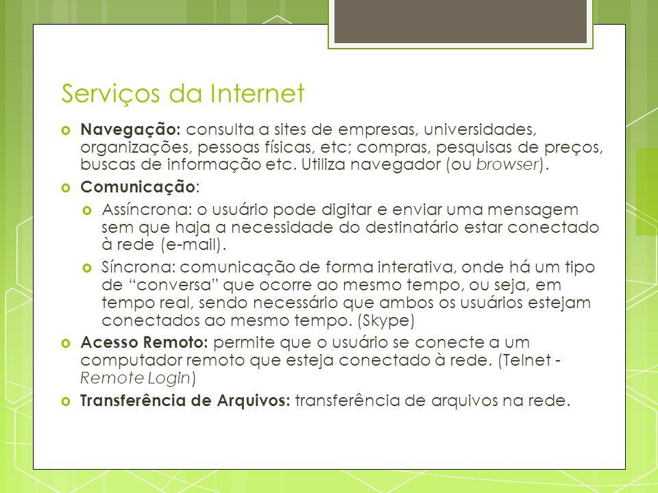 Serviços da Internet Navegação: consulta a sites de empresas, universidades, organizações, pessoas físicas, etc; compras, pesquisas de preços, buscas
