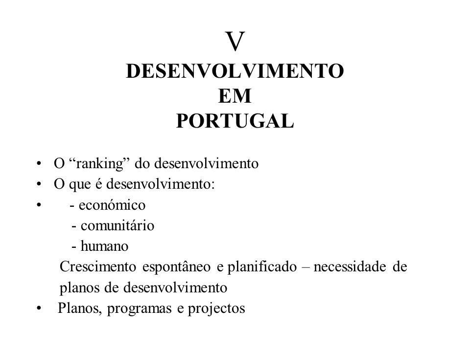 V DESENVOLVIMENTO EM PORTUGAL O ranking do desenvolvimento O que é desenvolvimento: - económico - comunitário - humano Crescimento espontâneo e planificado – necessidade de planos de desenvolvimento Planos, programas e projectos
