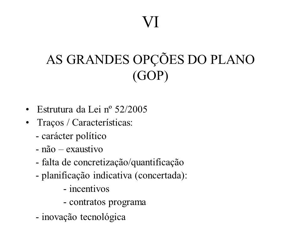 VI AS GRANDES OPÇÕES DO PLANO (GOP) Estrutura da Lei nº 52/2005 Traços / Características: - carácter político - não – exaustivo - falta de concretização/quantificação - planificação indicativa (concertada): - incentivos - contratos programa - inovação tecnológica