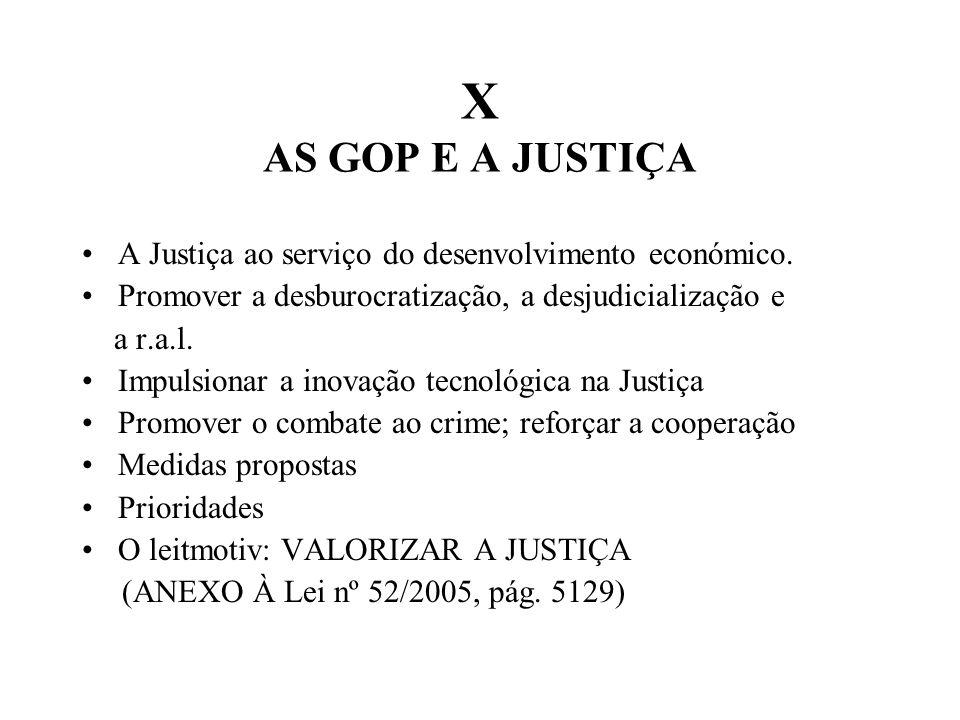 X AS GOP E A JUSTIÇA A Justiça ao serviço do desenvolvimento económico.