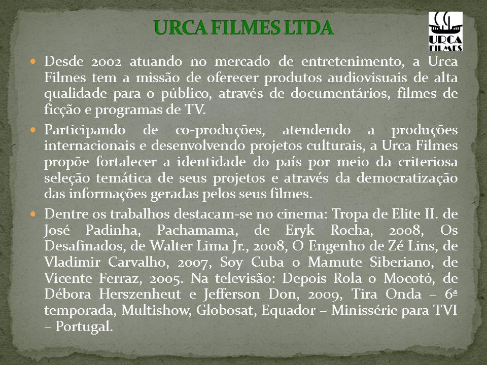 Desde 2002 atuando no mercado de entretenimento, a Urca Filmes tem a missão de oferecer produtos audiovisuais de alta qualidade para o público, através de documentários, filmes de ficção e programas de TV.