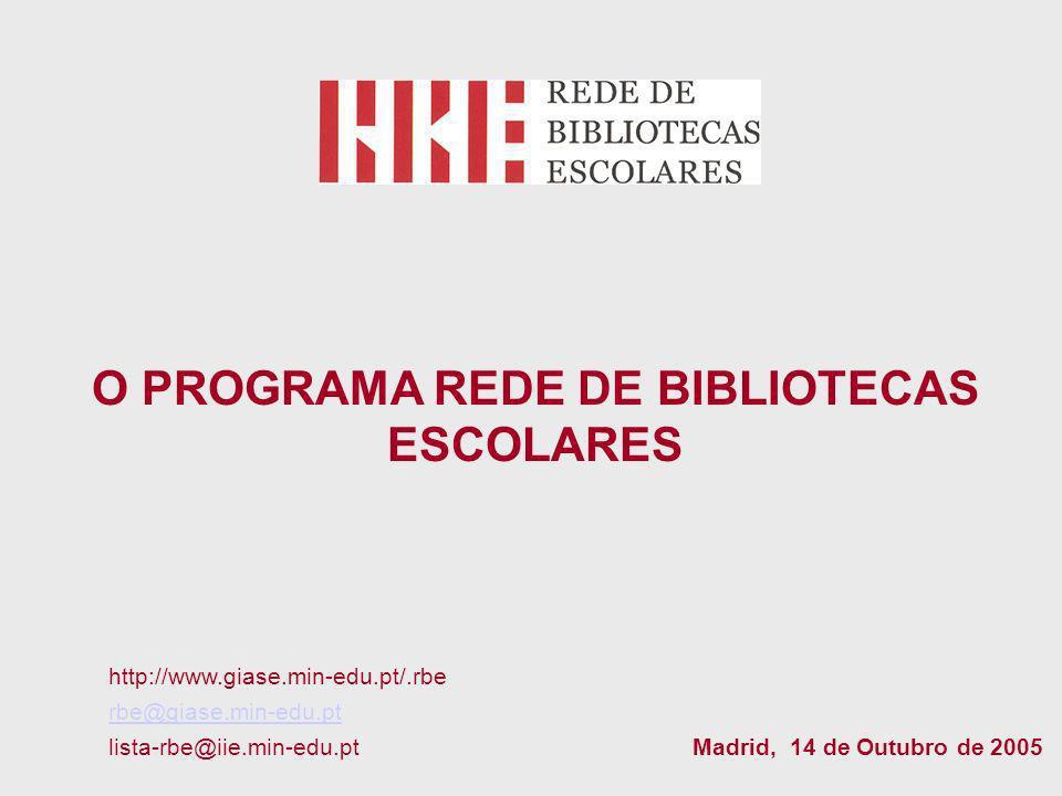 O PROGRAMA REDE DE BIBLIOTECAS ESCOLARES http://www.giase.min-edu.pt/.rbe rbe@giase.min-edu.pt lista-rbe@iie.min-edu.pt Madrid, 14 de Outubro de 2005