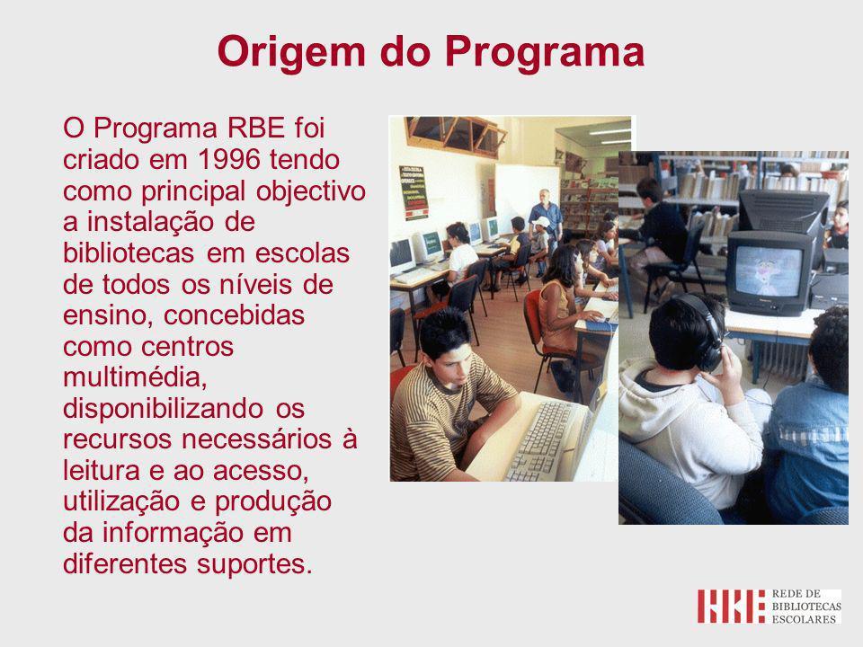 O Programa RBE foi criado em 1996 tendo como principal objectivo a instalação de bibliotecas em escolas de todos os níveis de ensino, concebidas como centros multimédia, disponibilizando os recursos necessários à leitura e ao acesso, utilização e produção da informação em diferentes suportes.