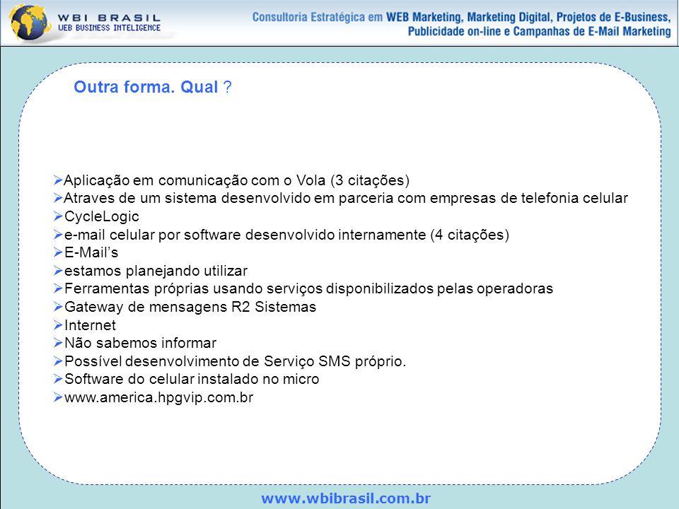 www.wbibrasil.com.br Outra forma. Qual ? Aplicação em comunicação com o Vola (3 citações) Atraves de um sistema desenvolvido em parceria com empresas