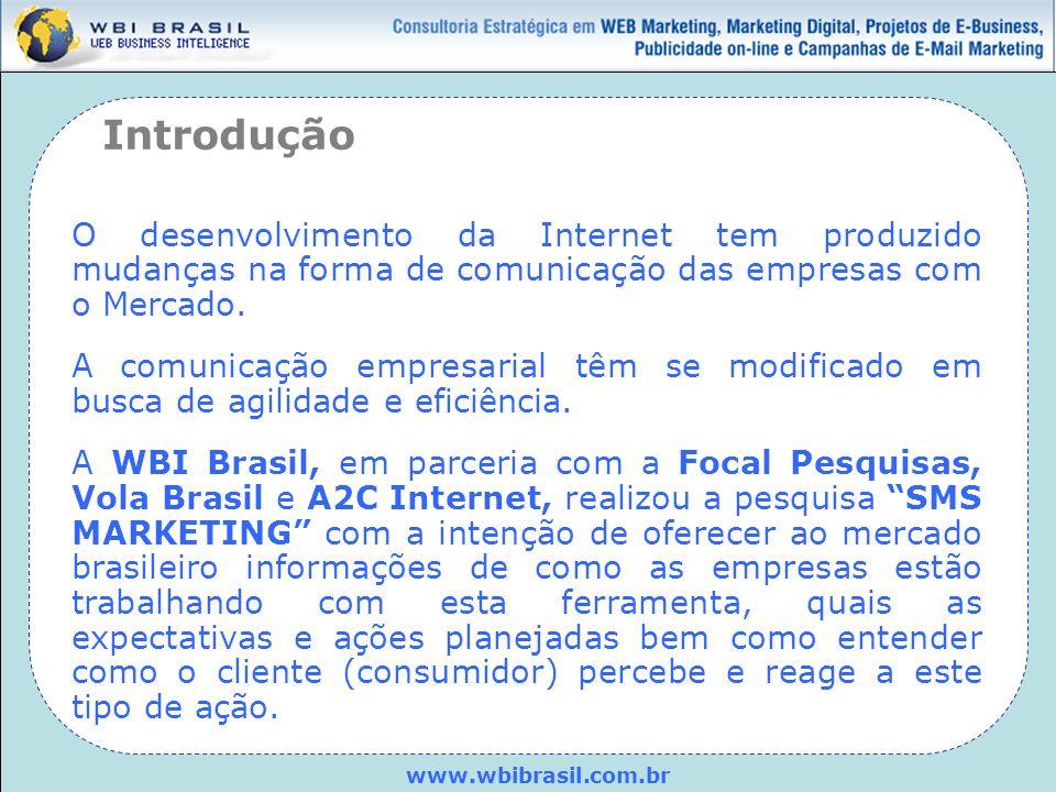 www.wbibrasil.com.br Objetivo: Identificar como as empresas utilizam o SMS marketing como ferramenta de comunicação junto ao seu público- alvo e a percepção do consumidor com relação a este tipo de ação.