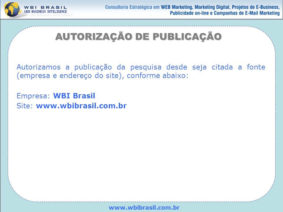 www.wbibrasil.com.br AUTORIZAÇÃO DE PUBLICAÇÃO Autorizamos a publicação da pesquisa desde seja citada a fonte (empresa e endereço do site), conforme a