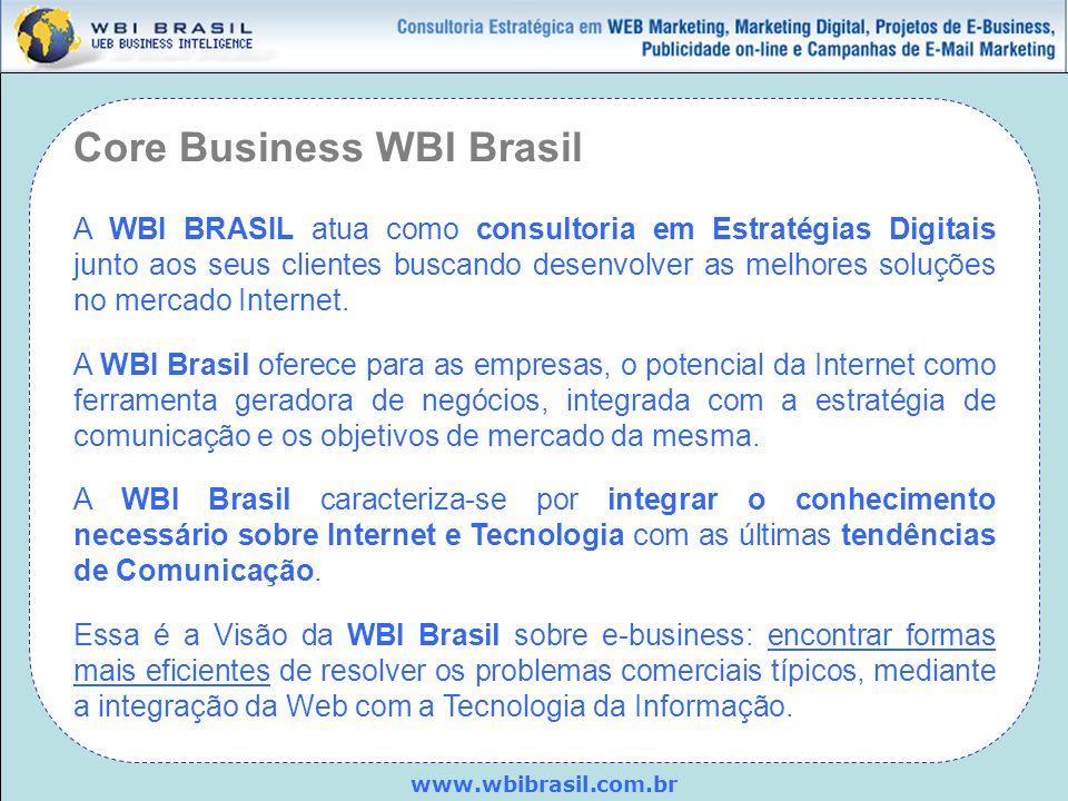 Core Business WBI Brasil A WBI BRASIL atua como consultoria em Estratégias Digitais junto aos seus clientes buscando desenvolver as melhores soluções