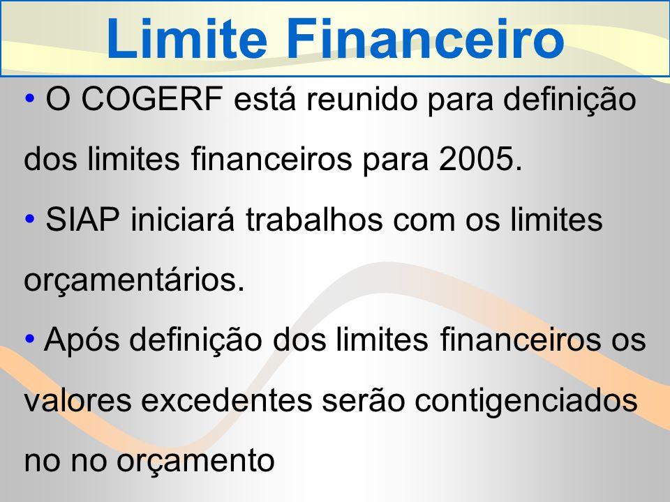 Limite Financeiro O COGERF está reunido para definição dos limites financeiros para 2005.