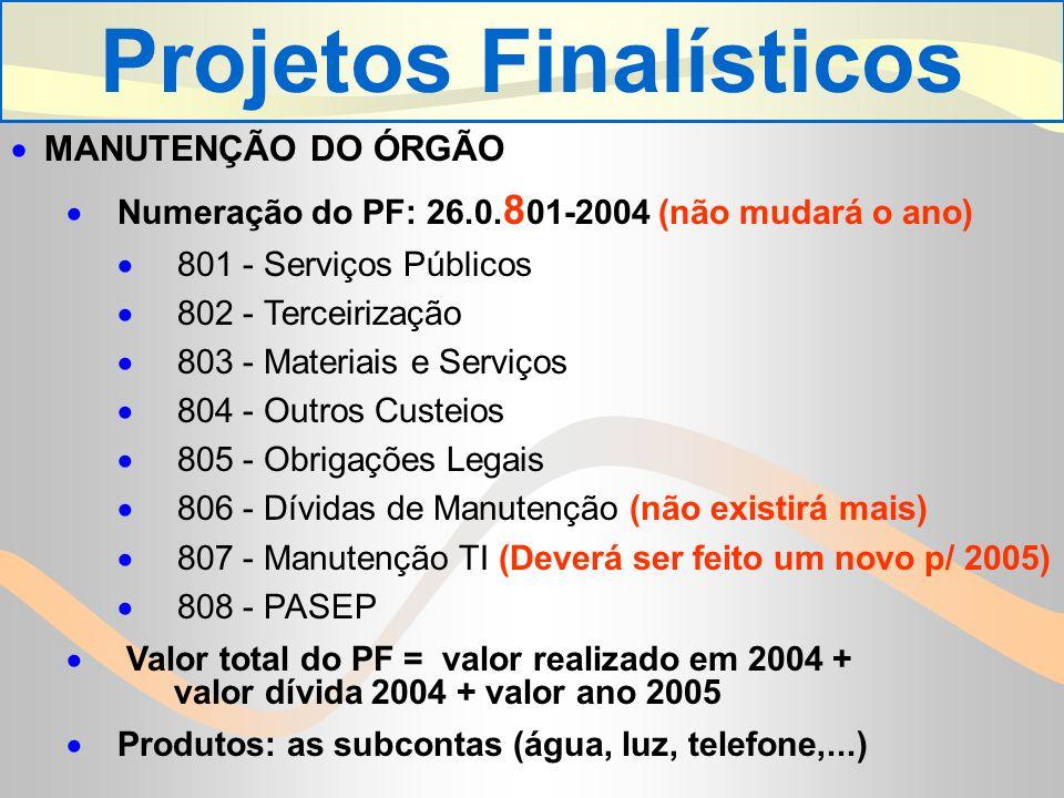 MANUTENÇÃO DO ÓRGÃO Numeração do PF: 26.0.
