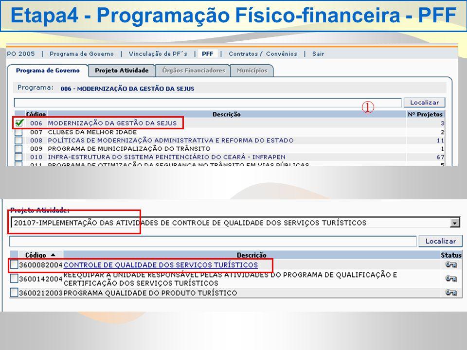 Etapa4 - Programação Físico-financeira - PFF 1