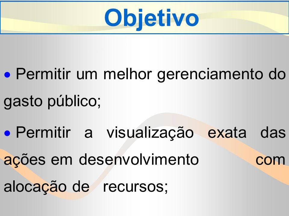 Objetivo Permitir um melhor gerenciamento do gasto público; Permitir a visualização exata das ações em desenvolvimento com alocação de recursos;