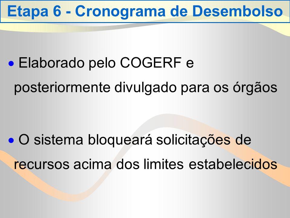 Etapa 6 - Cronograma de Desembolso Elaborado pelo COGERF e posteriormente divulgado para os órgãos O sistema bloqueará solicitações de recursos acima dos limites estabelecidos