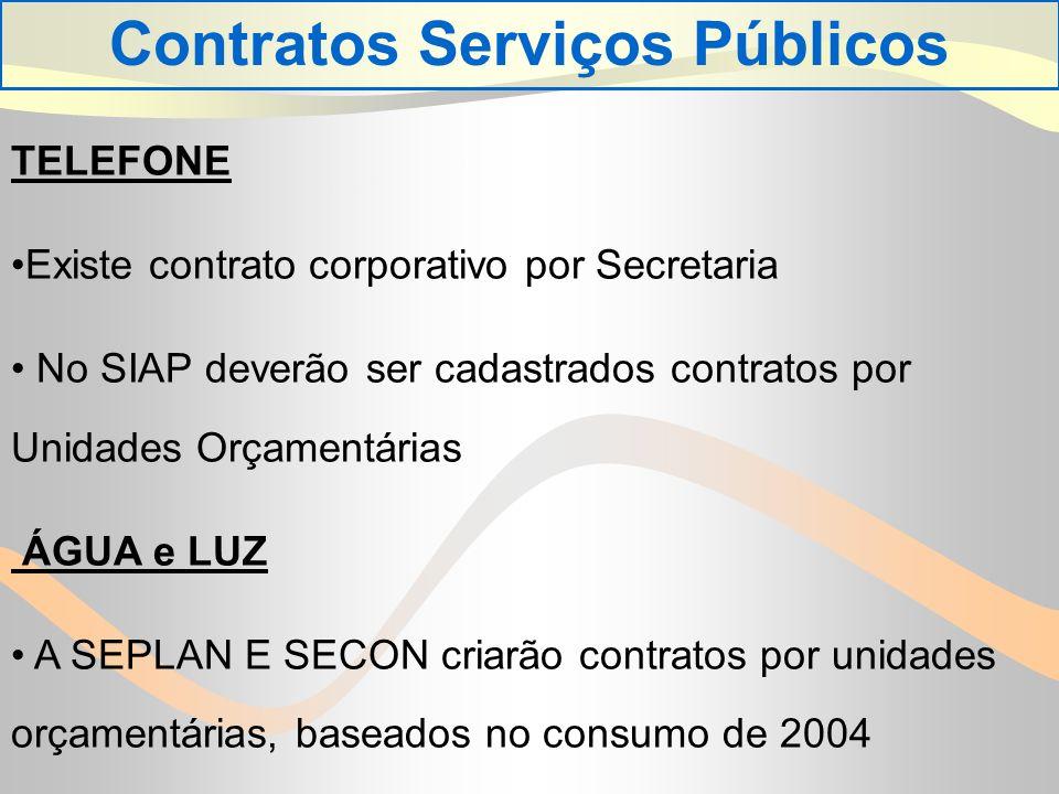 TELEFONE Existe contrato corporativo por Secretaria No SIAP deverão ser cadastrados contratos por Unidades Orçamentárias ÁGUA e LUZ A SEPLAN E SECON criarão contratos por unidades orçamentárias, baseados no consumo de 2004 Contratos Serviços Públicos