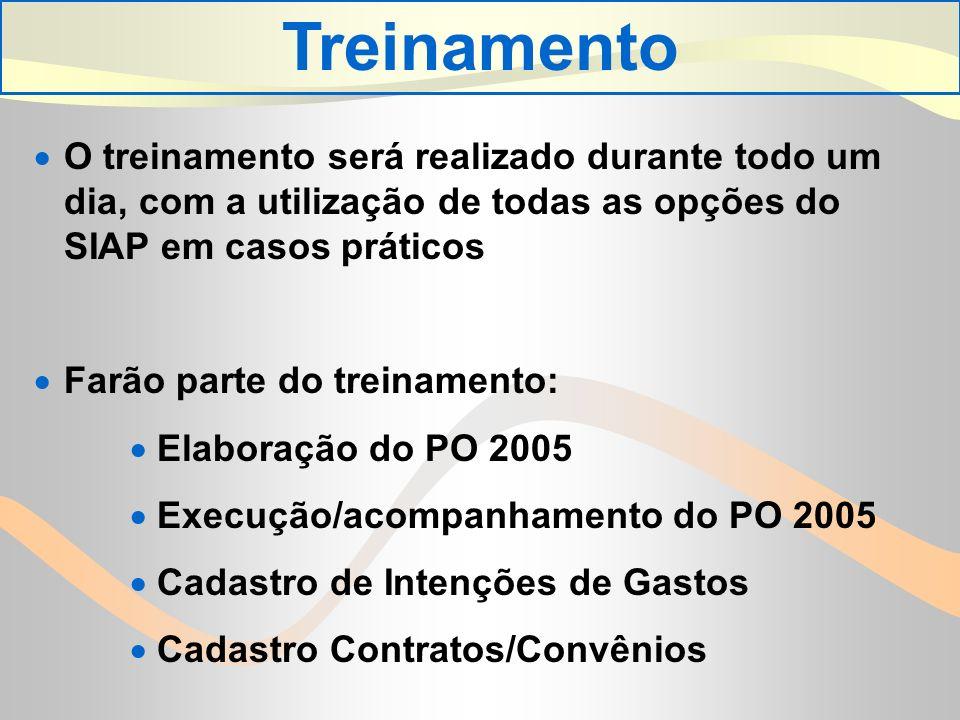 O treinamento será realizado durante todo um dia, com a utilização de todas as opções do SIAP em casos práticos Farão parte do treinamento: Elaboração do PO 2005 Execução/acompanhamento do PO 2005 Cadastro de Intenções de Gastos Cadastro Contratos/Convênios Treinamento