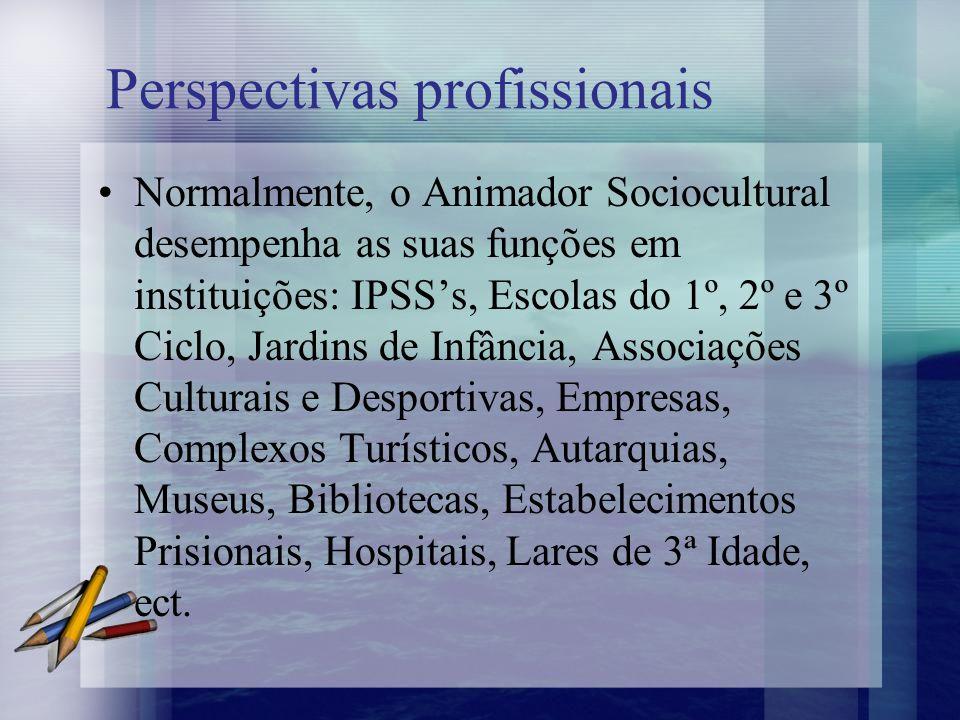 Perspectivas profissionais Normalmente, o Animador Sociocultural desempenha as suas funções em instituições: IPSSs, Escolas do 1º, 2º e 3º Ciclo, Jard