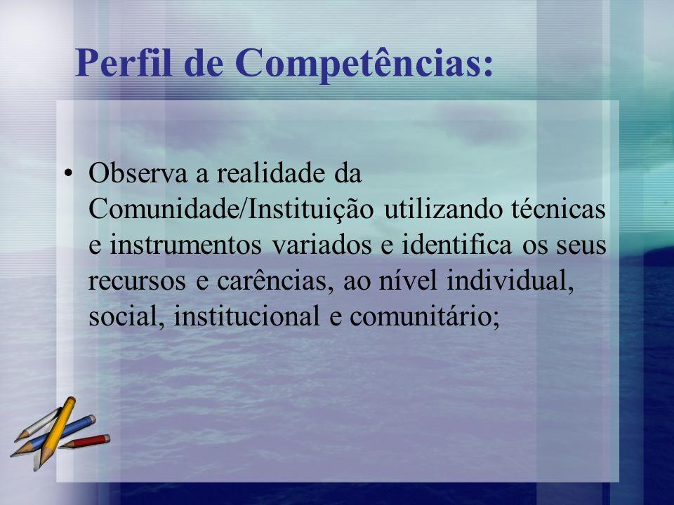Observa a realidade da Comunidade/Instituição utilizando técnicas e instrumentos variados e identifica os seus recursos e carências, ao nível individu