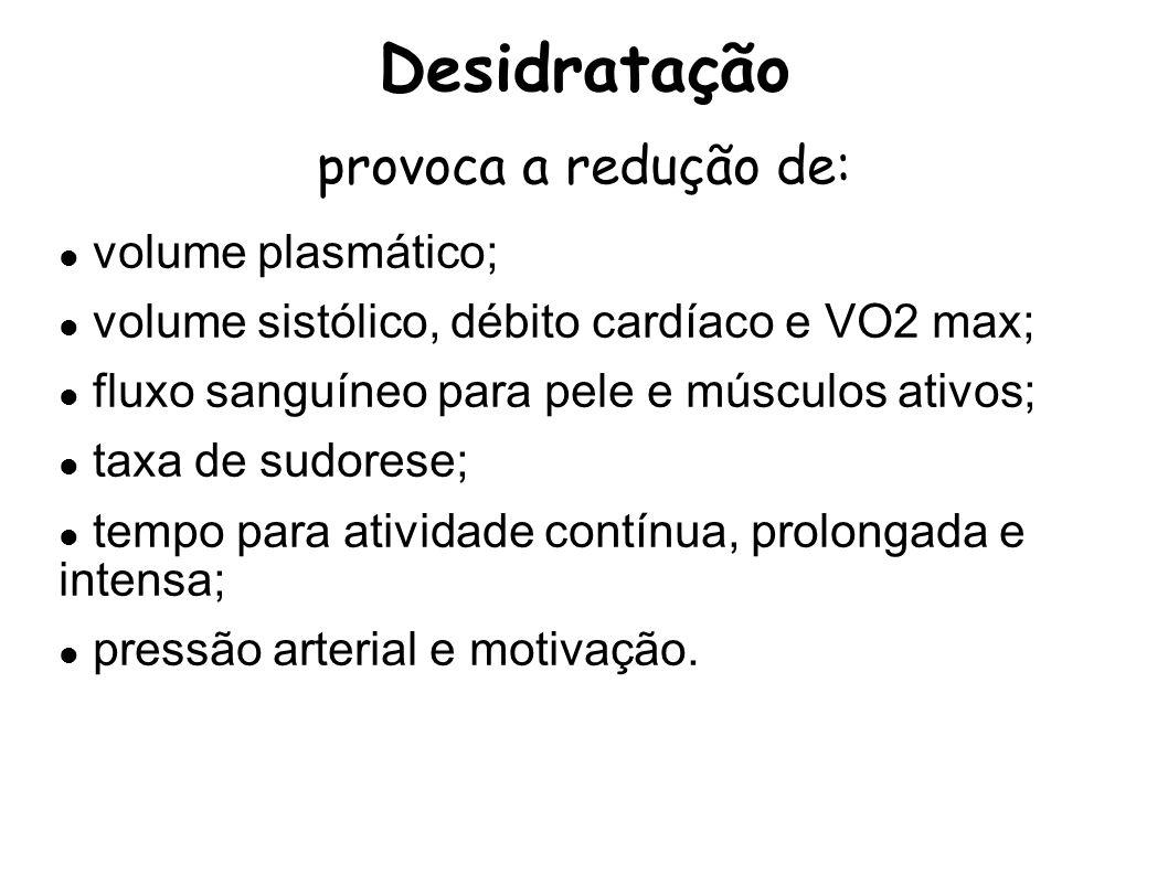 Desidratação provoca a redução de: volume plasmático; volume sistólico, débito cardíaco e VO2 max; fluxo sanguíneo para pele e músculos ativos; taxa d