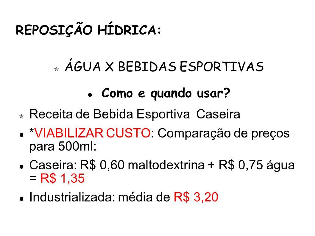 REPOSIÇÃO HÍDRICA: ÁGUA X BEBIDAS ESPORTIVAS Como e quando usar? Receita de Bebida Esportiva Caseira *VIABILIZAR CUSTO: Comparação de preços para 500m