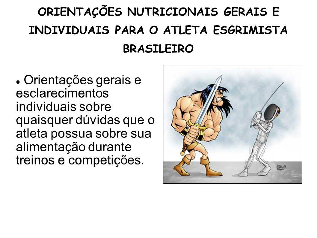 ORIENTAÇÕES NUTRICIONAIS GERAIS E INDIVIDUAIS PARA O ATLETA ESGRIMISTA BRASILEIRO Orientações gerais e esclarecimentos individuais sobre quaisquer dúv