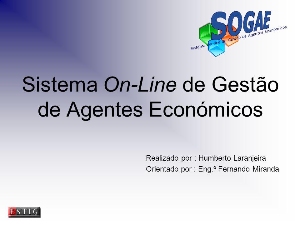 Sistema On-Line de Gestão de Agentes Económicos Realizado por : Humberto Laranjeira Orientado por : Eng.º Fernando Miranda