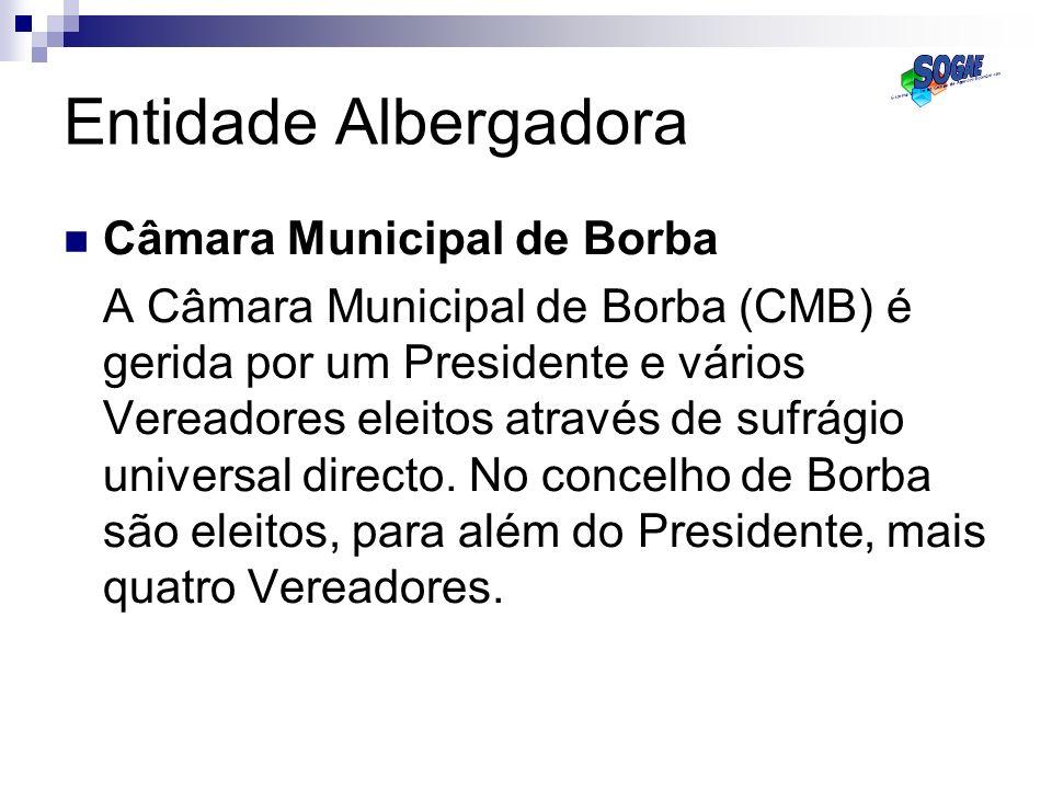 Câmara Municipal de Borba A Câmara Municipal de Borba (CMB) é gerida por um Presidente e vários Vereadores eleitos através de sufrágio universal direc