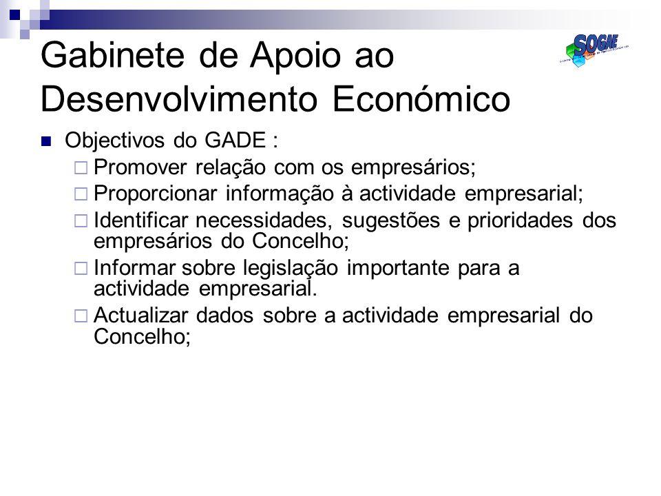 Gabinete de Apoio ao Desenvolvimento Económico Objectivos do GADE : Promover relação com os empresários; Proporcionar informação à actividade empresar