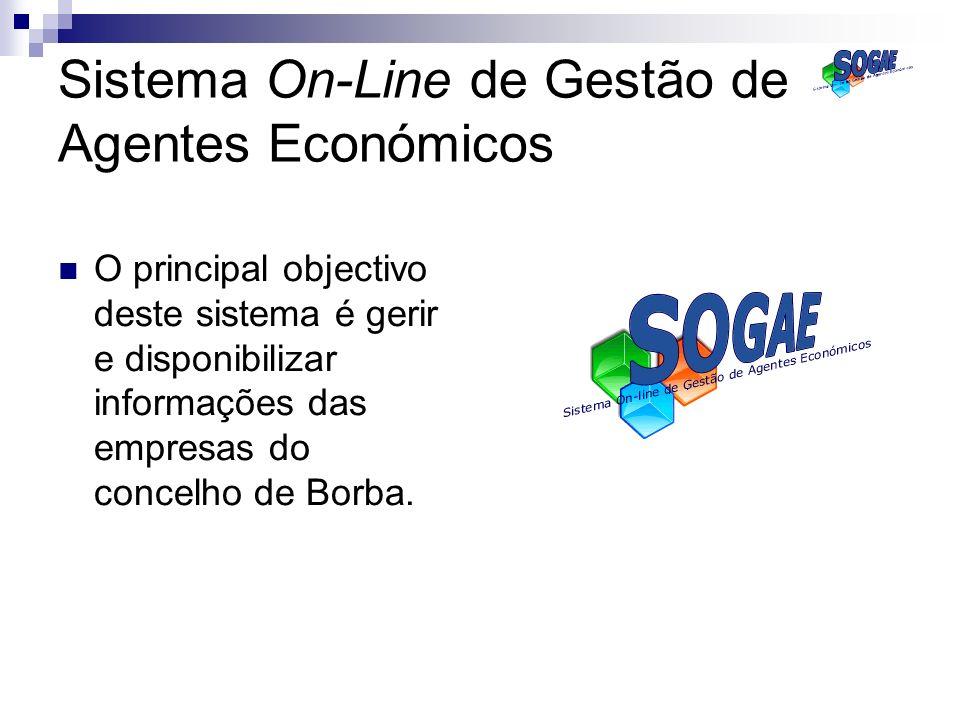 Sistema On-Line de Gestão de Agentes Económicos O principal objectivo deste sistema é gerir e disponibilizar informações das empresas do concelho de B