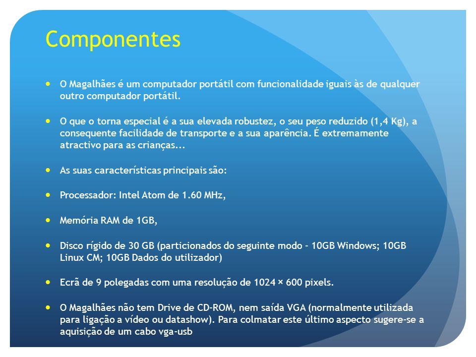 Componentes O Magalhães é um computador portátil com funcionalidade iguais às de qualquer outro computador portátil.