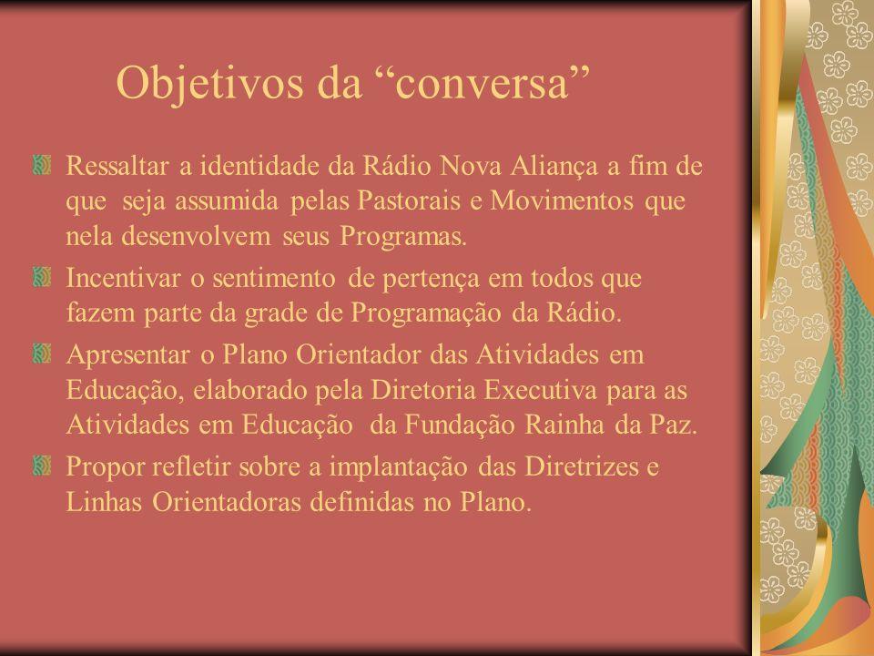 Objetivos da conversa Ressaltar a identidade da Rádio Nova Aliança a fim de que seja assumida pelas Pastorais e Movimentos que nela desenvolvem seus P