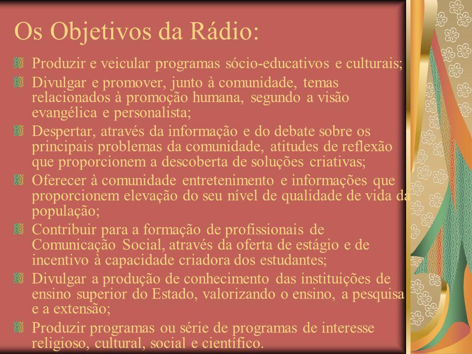 Os Objetivos da Rádio: Produzir e veicular programas sócio-educativos e culturais; Divulgar e promover, junto à comunidade, temas relacionados à promo