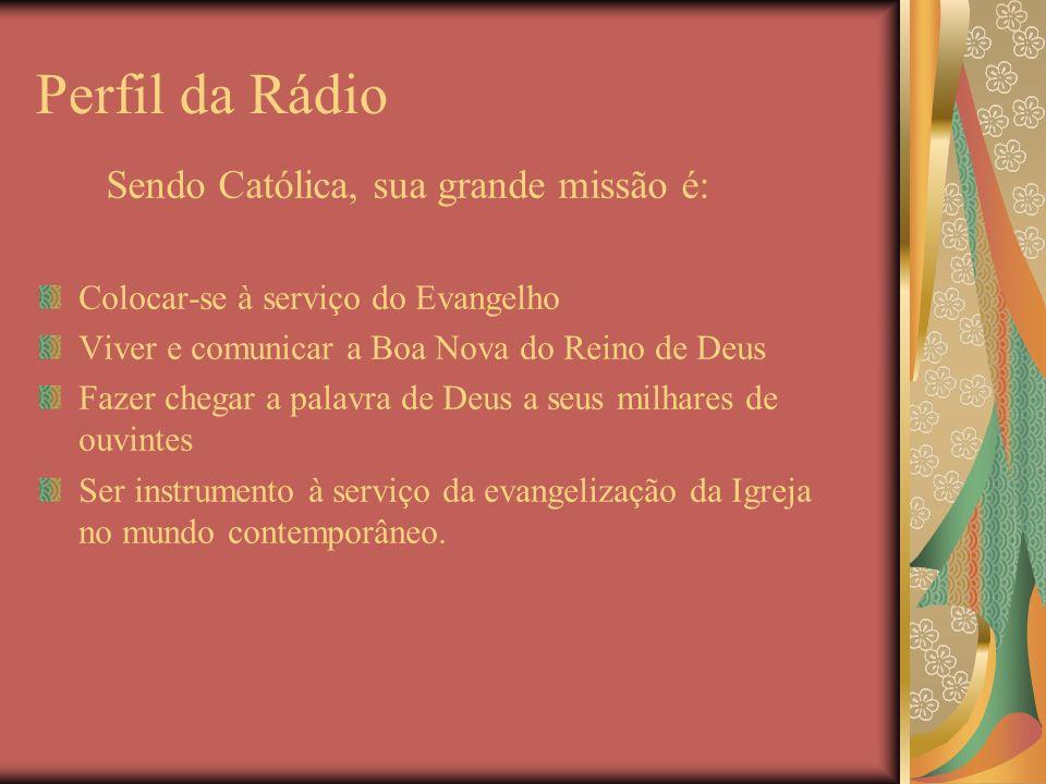 Perfil da Rádio Colocar-se à serviço do Evangelho Viver e comunicar a Boa Nova do Reino de Deus Fazer chegar a palavra de Deus a seus milhares de ouvi