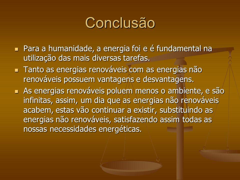 Conclusão Para a humanidade, a energia foi e é fundamental na utilização das mais diversas tarefas.