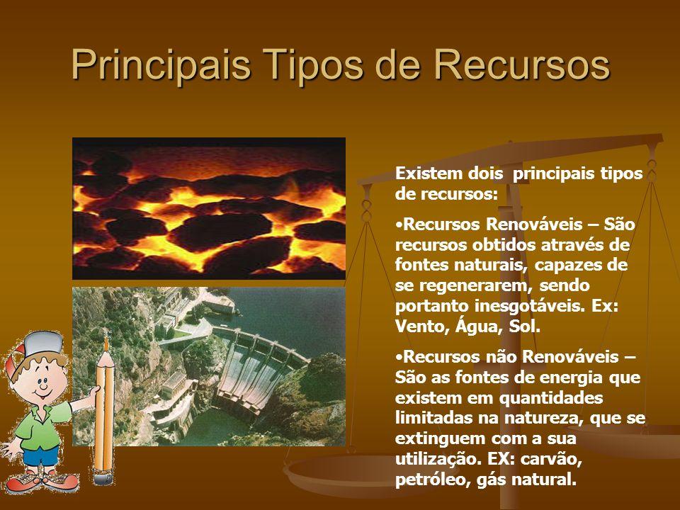 Principais Tipos de Recursos Existem dois principais tipos de recursos: Recursos Renováveis – São recursos obtidos através de fontes naturais, capazes de se regenerarem, sendo portanto inesgotáveis.